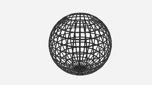 3d model sphere wire bin