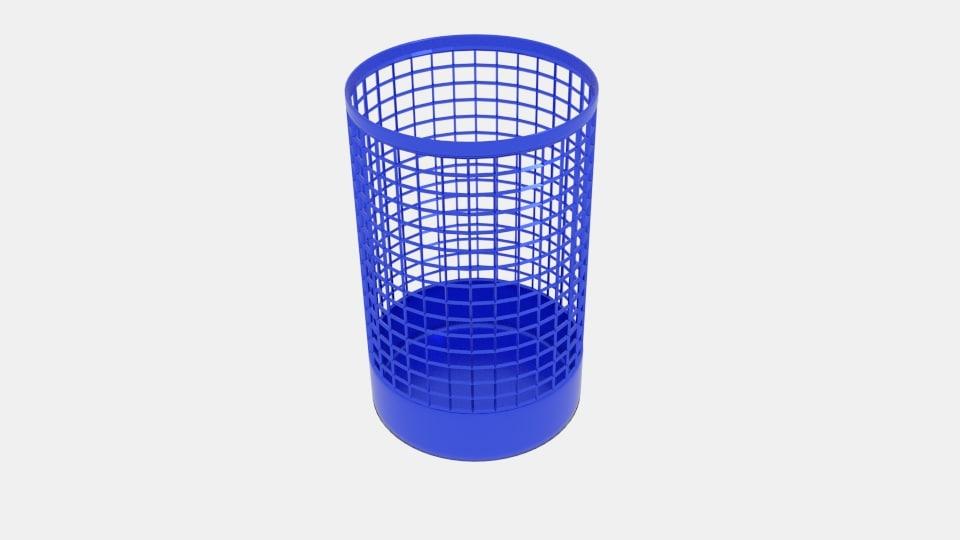3d model wireframe cylinder bin