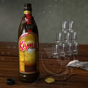 kahlua liquor bottle scene 3d model