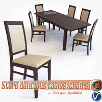 3d model chair table halmar setting