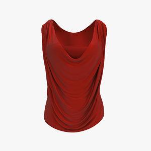 women cowl shirt 3d model