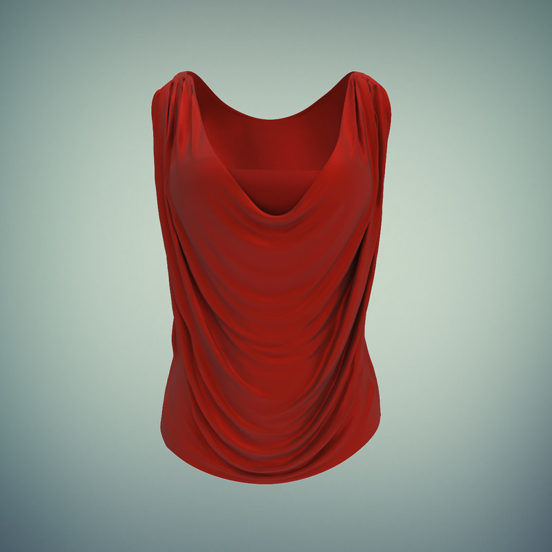 women cowl shirt 3d model