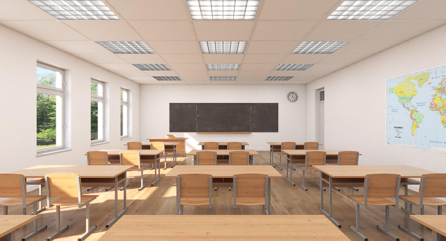 3d classroom realistic model