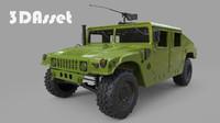 3d model military humvee green