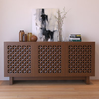 carved wood media console 3d max