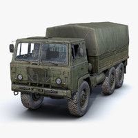 3d model low-poly rusty army truck