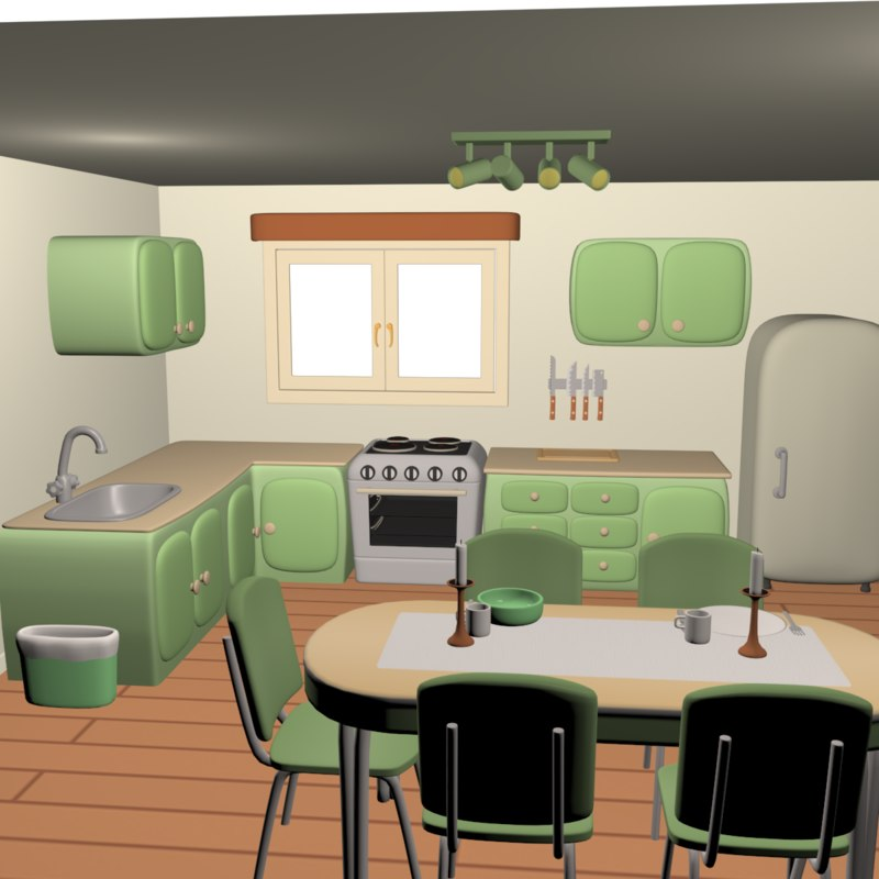 stylized kitchen scene max