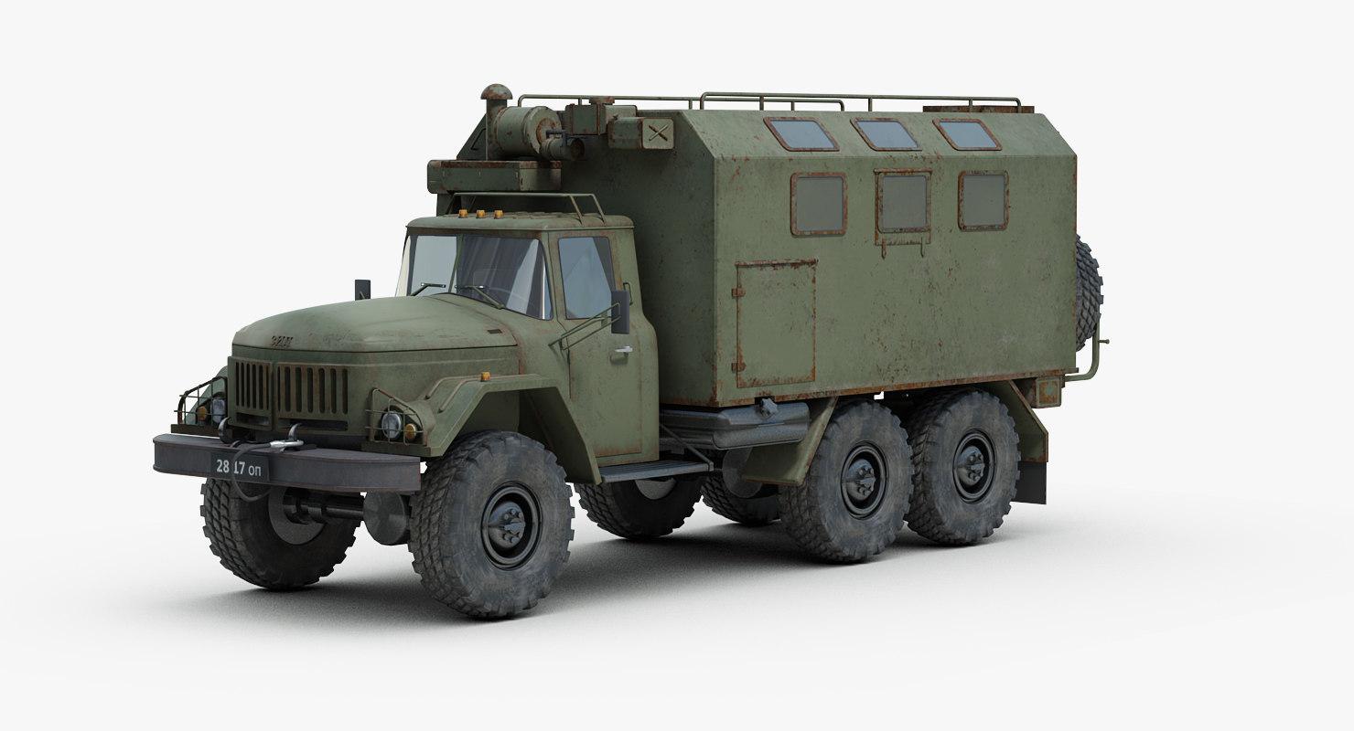 russian zil 131 kshm 3d model