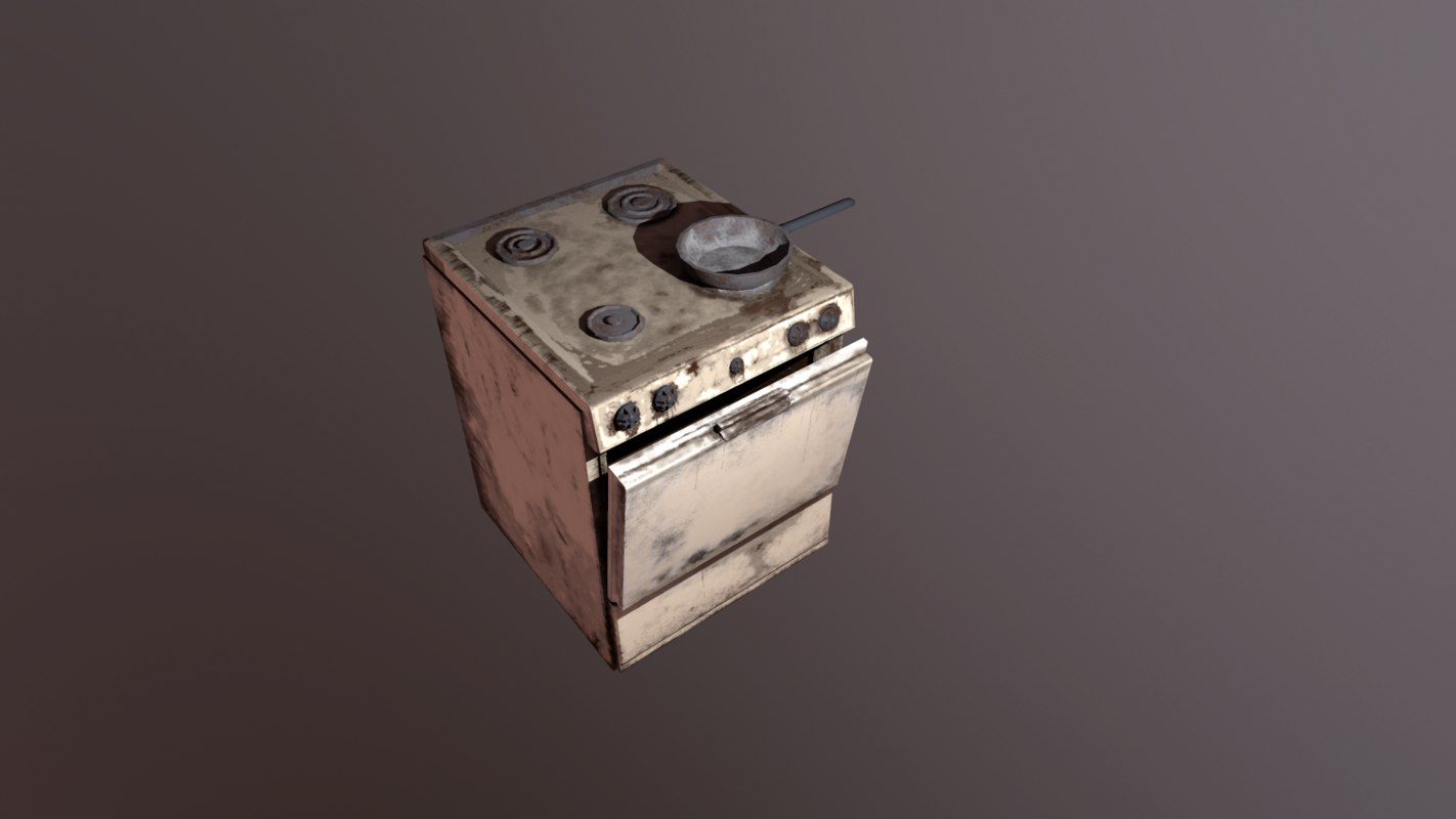 3d model abandoned kitchen stove
