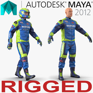 3d motorcycle rider rigged model
