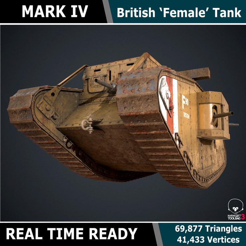 ready female tank mark 3d model