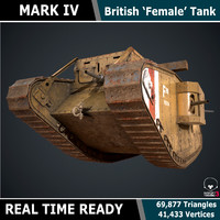 Mark IV 'Female' WW1 Tank - Game Ready