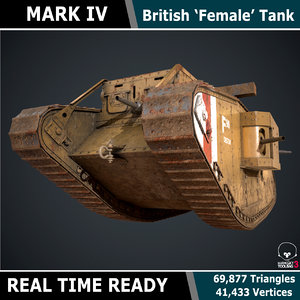 ready female tank mark 3d model
