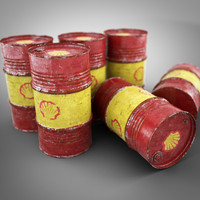 old shell oil barrel c4d