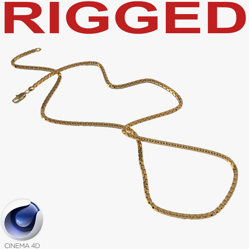 c4d rigged gold chain