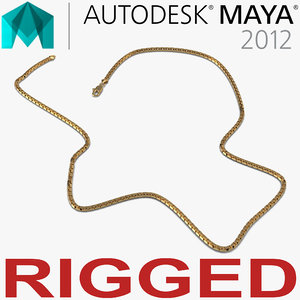 rigged gold chain 3d ma