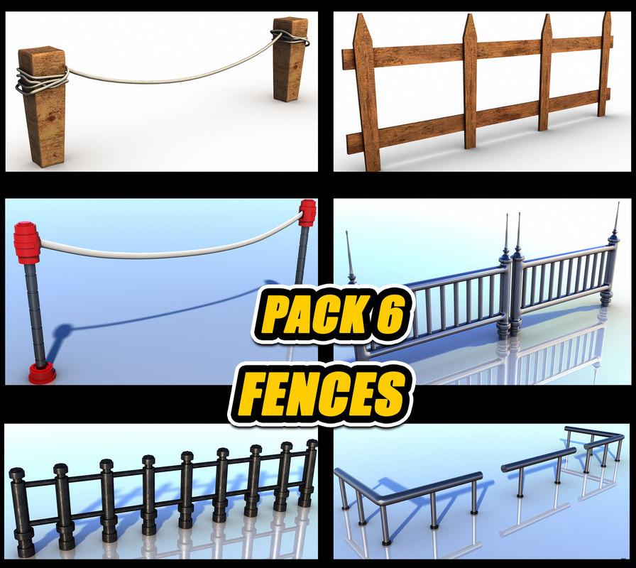 pack 6 fence railings 3d max