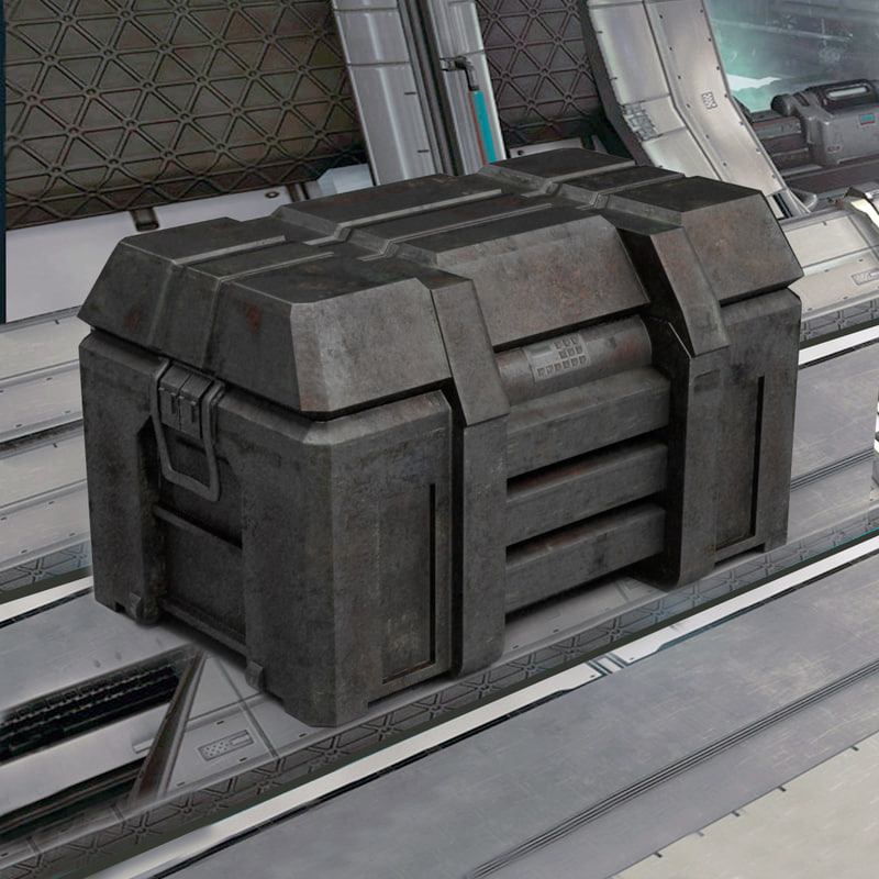 3d old sci-fi container