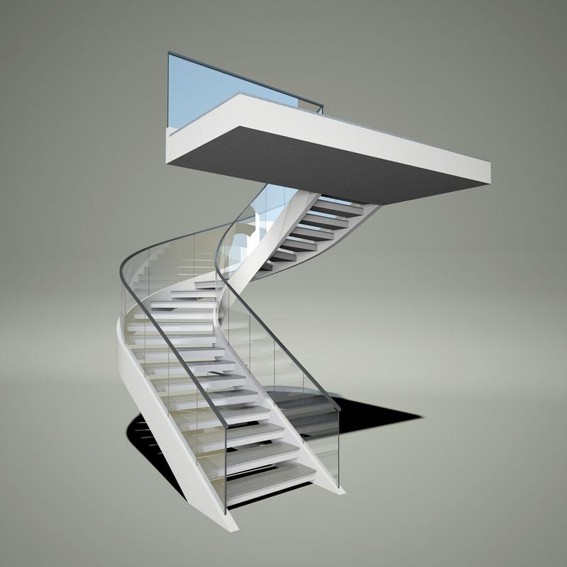 stair concrete 3d max