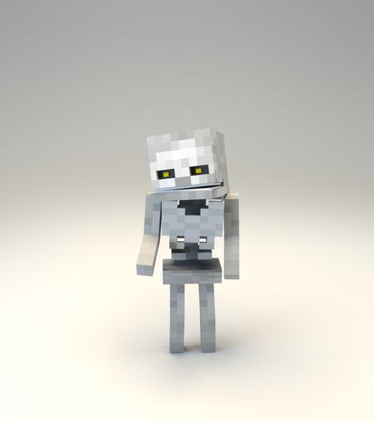 3d minecraft skeleton