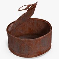 3d tin open rusty 3