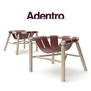 wooden leather armchair ninna 3d model