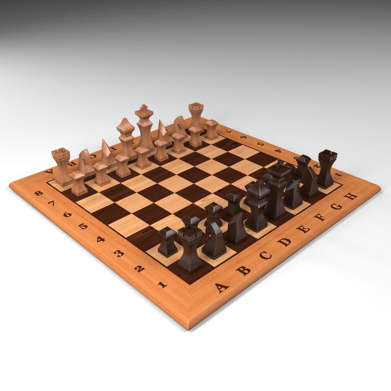 chess table 3 3d model