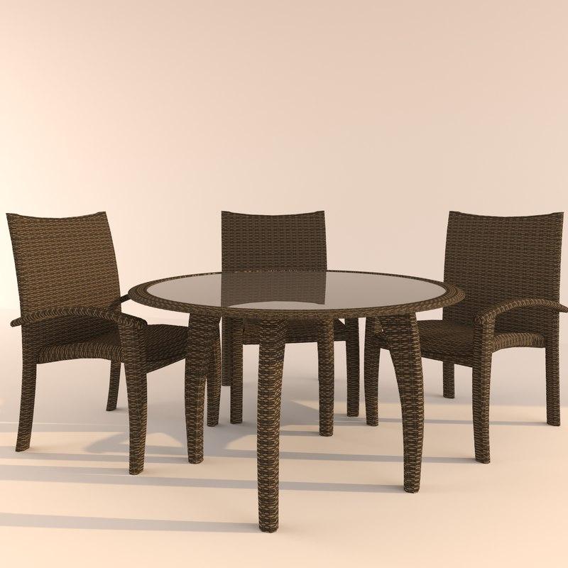 set table chair monaco 3d model
