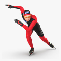 3d speed skater pose 3 model