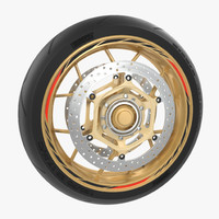 Sport Motorcycle Front Wheel 3D Model