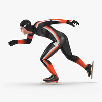 3d model speed skater generic 2