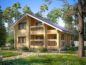 3d max log cabin house