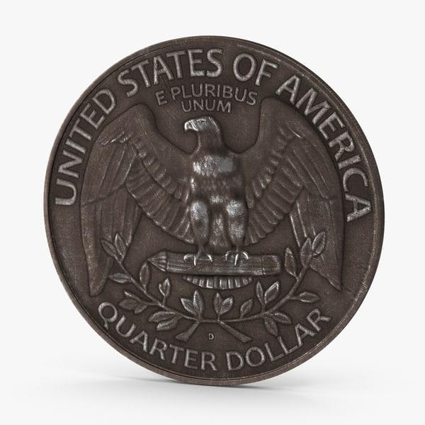 3d quarter dollar aged
