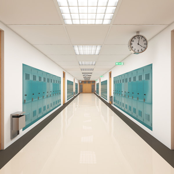 school hallway 3d max