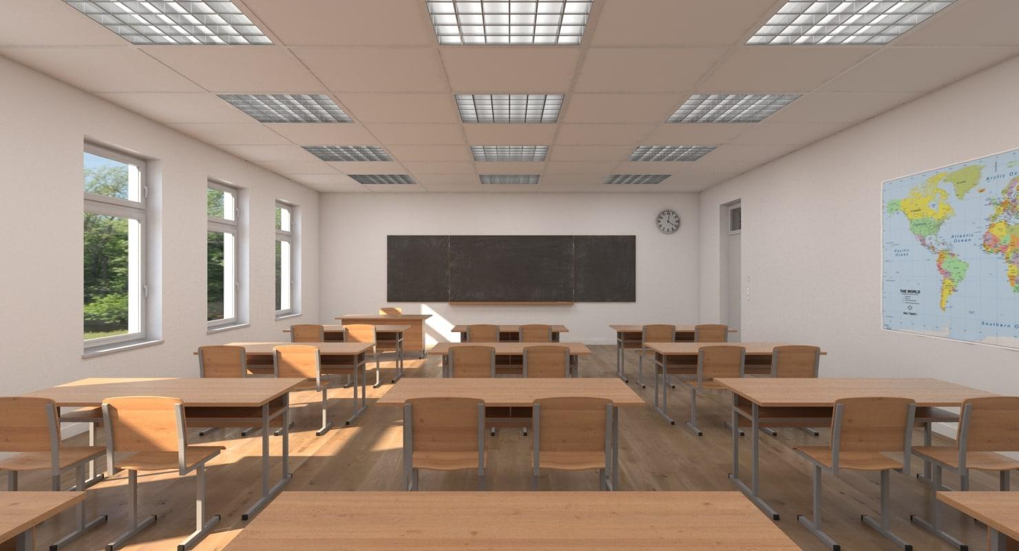 school scenes 3d model