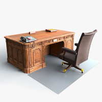 oval office president table chair 3d max