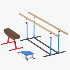 3d model gymnastic equipment: boards goat