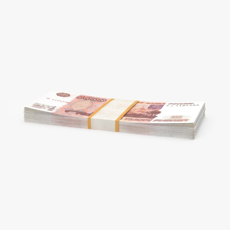 5000 ruble note pack 3d max