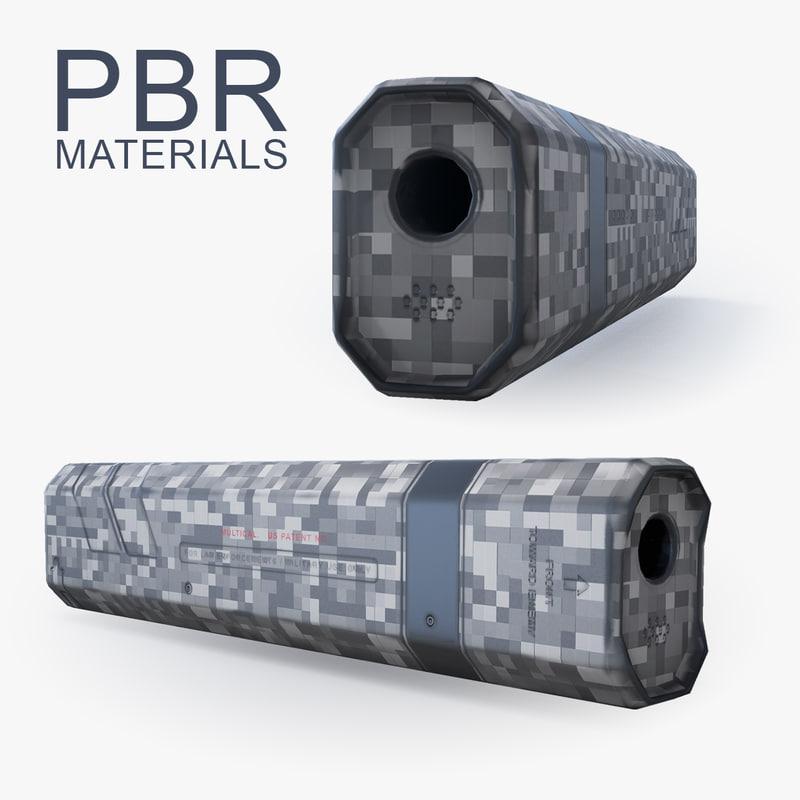 suppressor attachment barrel 3d model