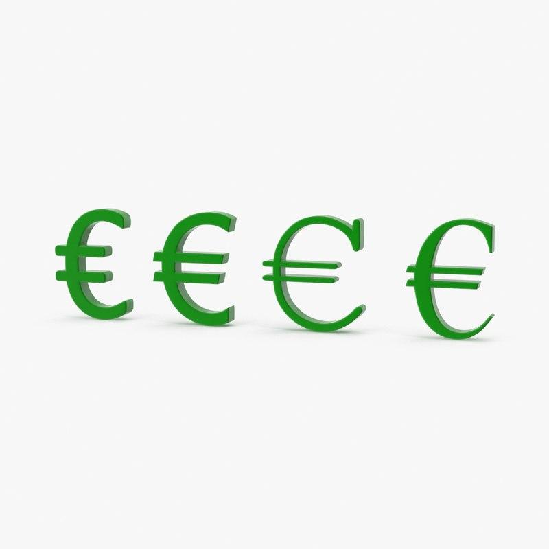 3d model symbols euro