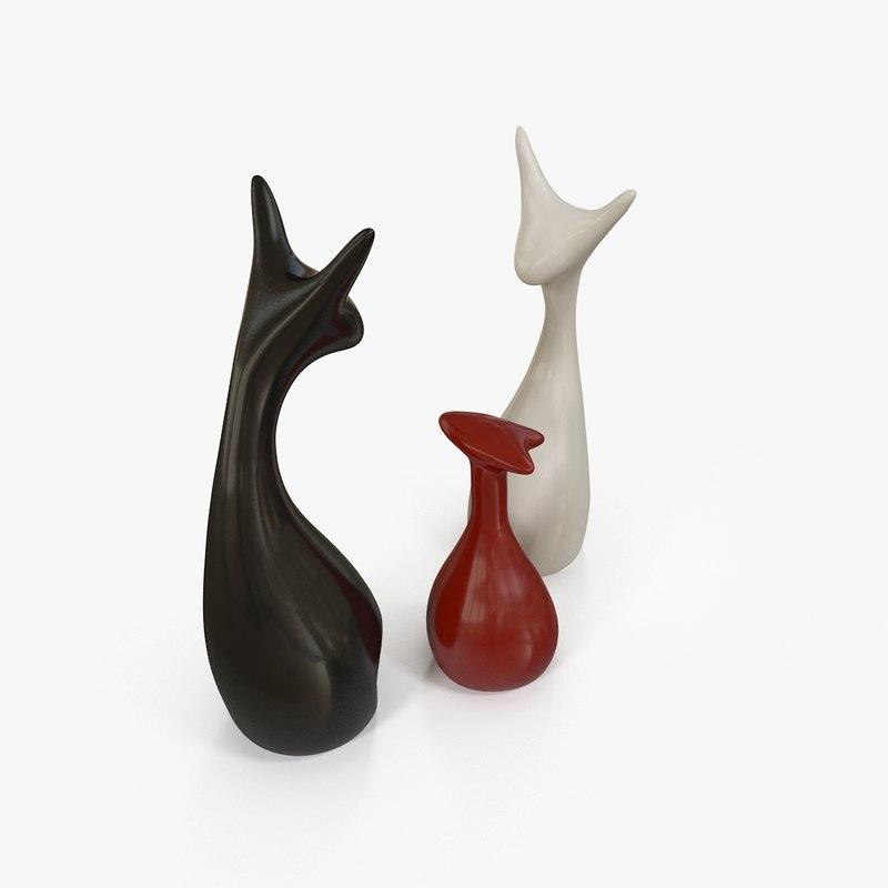obj interior figurines cats