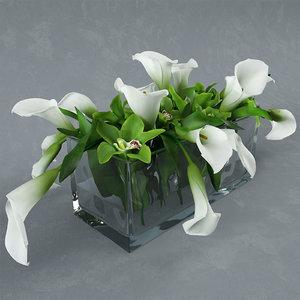 bouquet flowers glass vase x