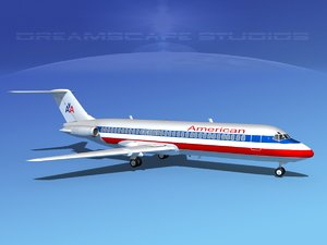 dc-9-30 dc-9 airliner 3ds