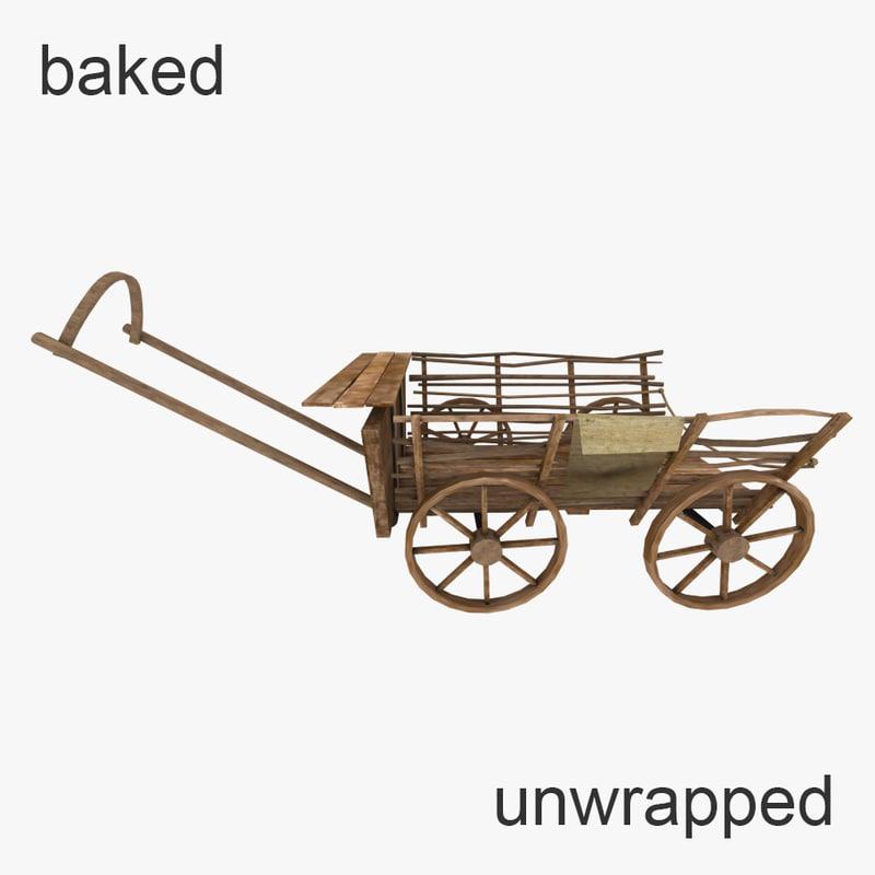 wooden wagon 3d model