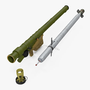 3d sa-18 grouse launcher missile model