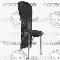 modern dining chair black leather 3d obj