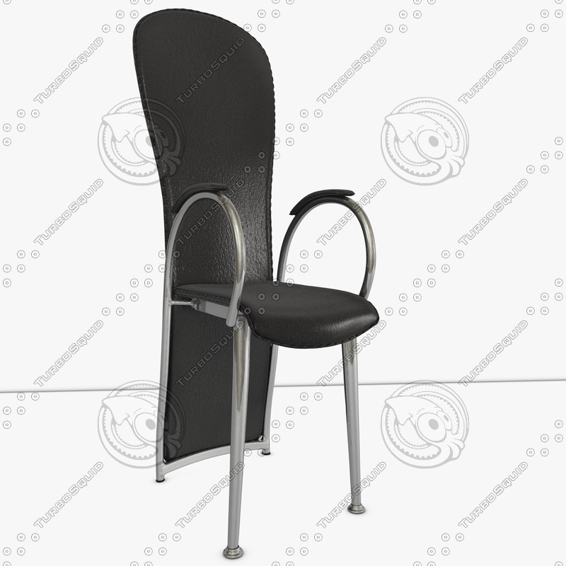 3d dining chair black leather model