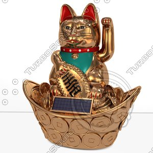 maneki japanese lucky neko 3d model