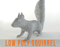 Squirrel Lowpoly Chipmunk Rodent Mammal Animal