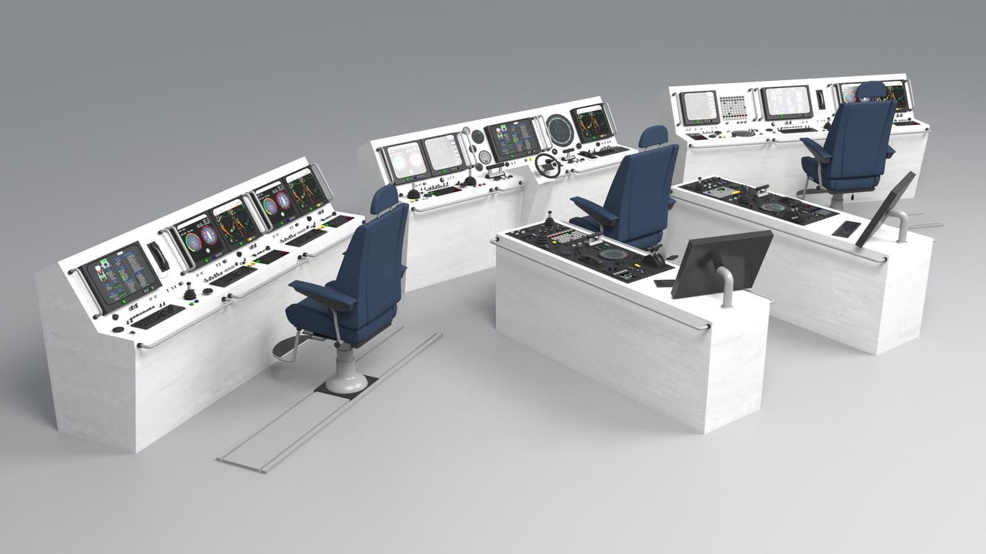 3d ship bridge control room model for 3d room simulator